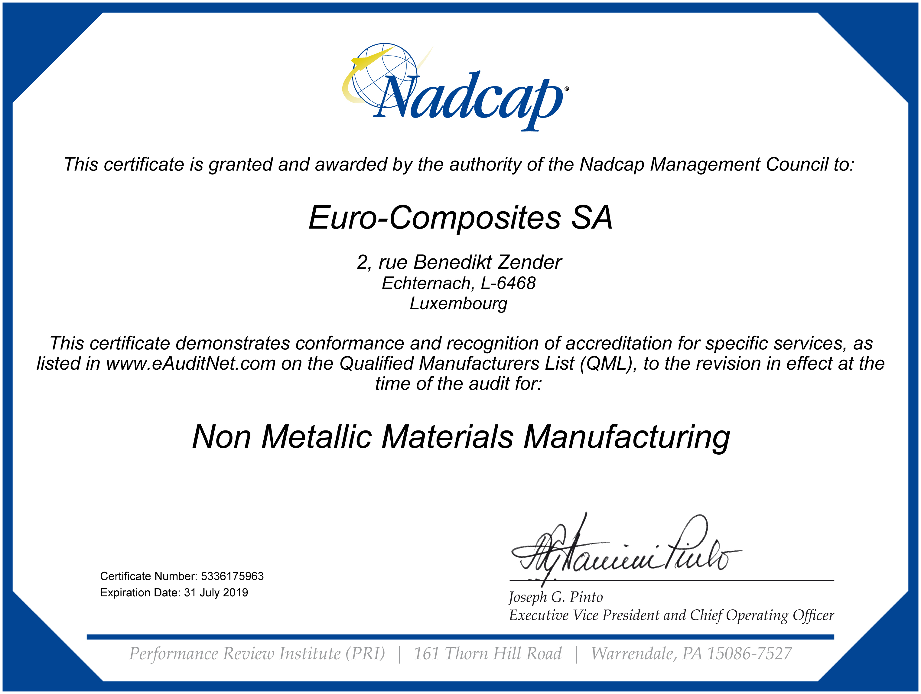 Nadcap Certification For The Manufacturing Process Euro Composites